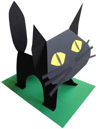 black paper cat body language tutorials and paper sculptures black paper cat art projects for kids how to make a cat out of one sheet of black paper great for through graders pdf tutorial at my site