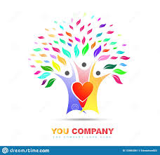 Family Tree Love Colorful Logo Vector Stock Vector Illustration Of