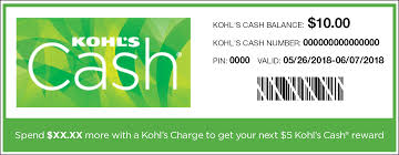 the kohl s cash number and pin are below the bar code