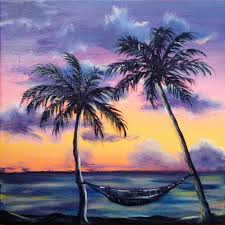 drawn beach palm tree