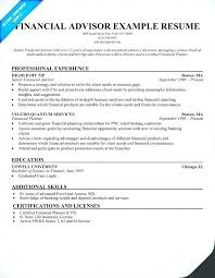 Trainee Financial Advisor Sample Resume