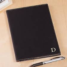 office gifts for dad. Engraved Single Initial Black Portfolio | Personalized Office Gifts For Him Dad A
