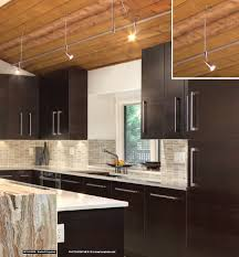 contemporary kitchen with stone bar under cabinet lighting and satin nickel lbl monorail with bare head apollo swivel i low voltage heads monorail gallery