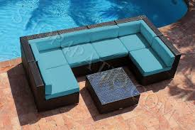 Image modern wicker patio furniture Mid Century Turquoise Piece Modern Outdoor Set In Brown Wicker A0701 Shop4patiocom