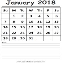 calendar 2018 free printable january 2018 calendar template free printable calendar com