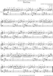 Piano Notes Chart Sheet Music Für Elise 1st Theme Easy Piano Sheet Music Notes By Ludwig