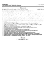 quality assurance manager resume sample quality assurance resume example