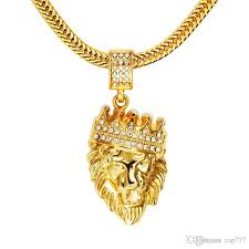 whole 2018 mens hip hop jewelry iced out gold fashion bling lion head pendant men necklace gold filled for men women gift present gold name necklace
