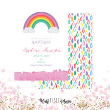 s rainbow themed lds baptism invitation