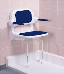 fold up padded shower seat with back and arms blue 2000 series 02230p