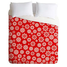 lisa argyropoulos mini flurries on red duvet cover
