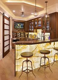 basement bar led backlit onyx home bar transitional with stainless steel counters star pendant lights