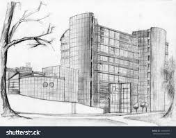 modern architecture sketch. Pencil Sketches Of Buildings Architectural Sketch Modern Bank Building Detailed Architecture