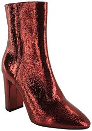 saint lau ysl yves pointed toe foil red boots image 0