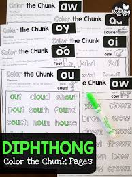 Phonics worksheets for kids including short vowel sounds and long vowel sounds for preschool and kindergarden. Diphthong Color The Chunk Pages This Reading Mama