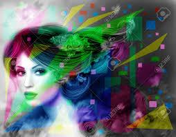 抽象イラスト美しいファンタジー女性紫髪型と花 の写真素材画像素材