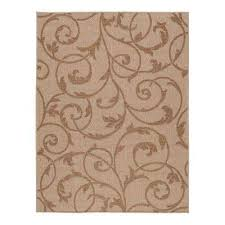 scroll beige brown 8 ft x 10 ft indoor outdoor area rug