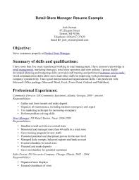 Resume Template Objective Summary Best of Retail Store Manager Resume Example Objective Summary Of Skills