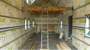 tiny house construction. Interior View With Vapour Barrier Tiny House Construction