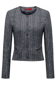 hugo boss open blue womens slim fit cropped jacket in a checked cotton blend