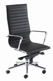 B Aria High Back Managers Chair In Ribbed Black Leather With Chrome Armrests  And Castors  Two Executive