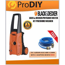 black decker pw1500s water jet high pressure washer foc garden hose 10m x 12mm with 2 adapters worth rm30