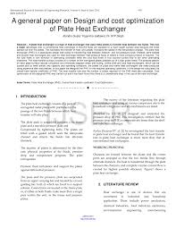 Research Paper On Heat Exchanger Design Pdf A General Paper On Design And Cost Optimization Of