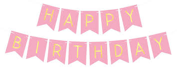 Pink Happy Birthday Bunting Banner With Shimmering Gold Letters Birthday Decorations 21st 30th 40th 50th Birthday Party Supplies