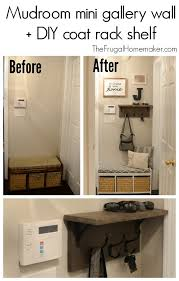Coat Rack Shelf Diy Mudroom gallery wall DIY coat rack shelf 4