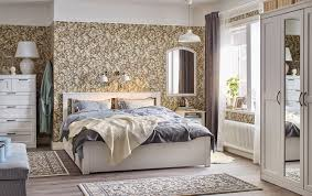 Image Elegant White Traditional Beige Blue And White Bedroom With Floral Wall Paper And White Songesand Bed Ikea Bedroom Furniture Ideas Ikea
