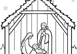 Manger Coloring Page Nativity Manger Nativity Coloring Page Nativity