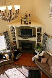 solution for corner fireplace built in bookcase and entertainment center