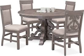 dining room furniture charthouse round dining table and 4 upholstered side chairs gray