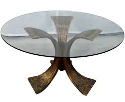 round glass sofa table with bronze base