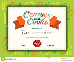 Cooking Certificate Template Kids Cooking Courses Certificate Template Stock Vector 1