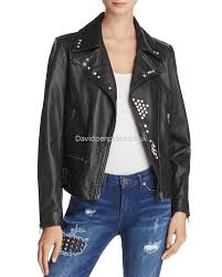 women s leather true religion retro studded leather jacket in black xr7436