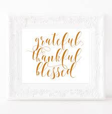 Grateful Thankful Blessed sign Friendsgiving printable Blessed wall art  Thanksgiving print Thankful wall art Fall wall