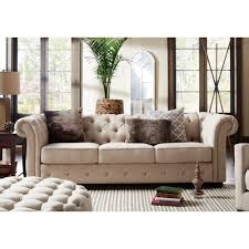 Knightsbridge Beige Fabric Button Tufted Chesterfield Sofa and Room Set by  iNSPIRE Q Artisan - Free Shipping Today - Overstock.com - 16005239