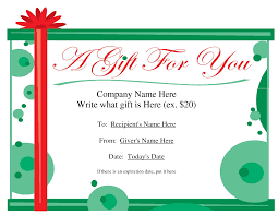 free printable gift certificate template free gift certificate templates