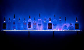 2 wall mounted led lighted liquor