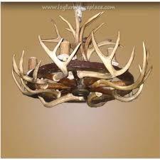 8 light wagon wheel antler chandelier
