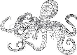 Small Picture Octopus with high details Adult antistress coloring page Black