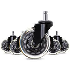 5x 2 5 3 heavy duty office chair caster wheels swivel rubber wood floor