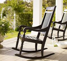 minimalist deck decoration ideas using black rocking chair of wooden