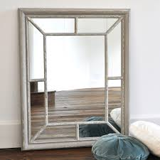 distressed grey painted rectangular wooden wall mirror with panelled window frame