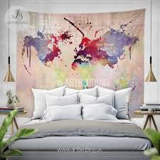 world map abstract watercolor splash wall tapestry grunge world