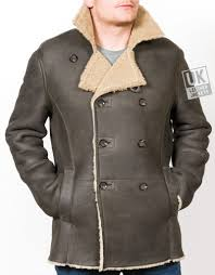 men s black double ted shearling sheepskin jacket pea coat front