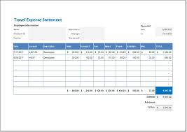 Travel And Expenses Travel Expense Statement Template For Ms Excel Word
