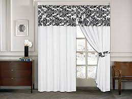Unique Black And White Curtains Half Flock With Plain Design Throughout Decorating