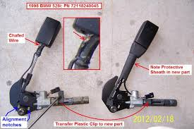 diy 1998 bmw 528i replacing driver seat belt buckle 10 now install the new pretensioner there are 2 notches blue arrows that must match the tabs on the seat